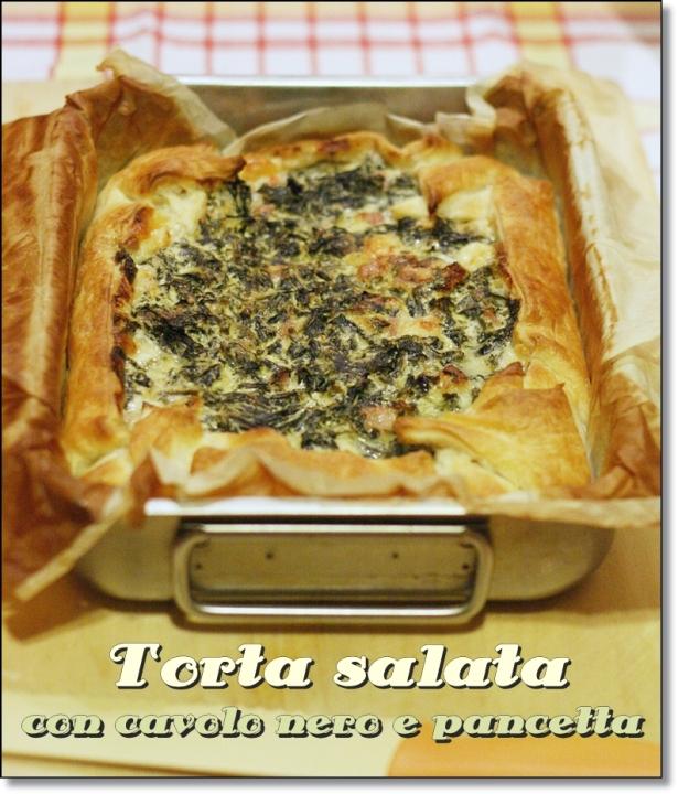 Torta salata con cavolo nero e pancetta