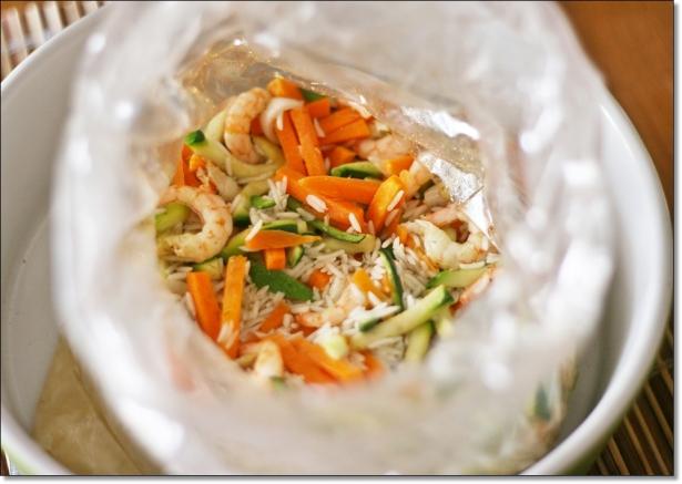 Riso basmati aromatico con gamberi e verdure (cotto)