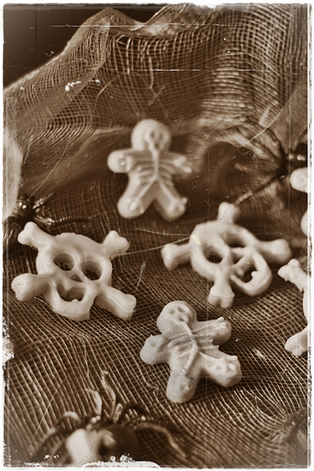 Skull skeleton cookies sepia