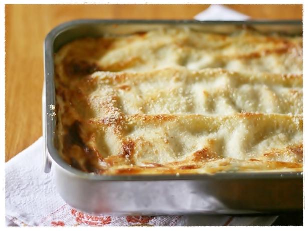 Lasagne zucca e erbette e provola 4