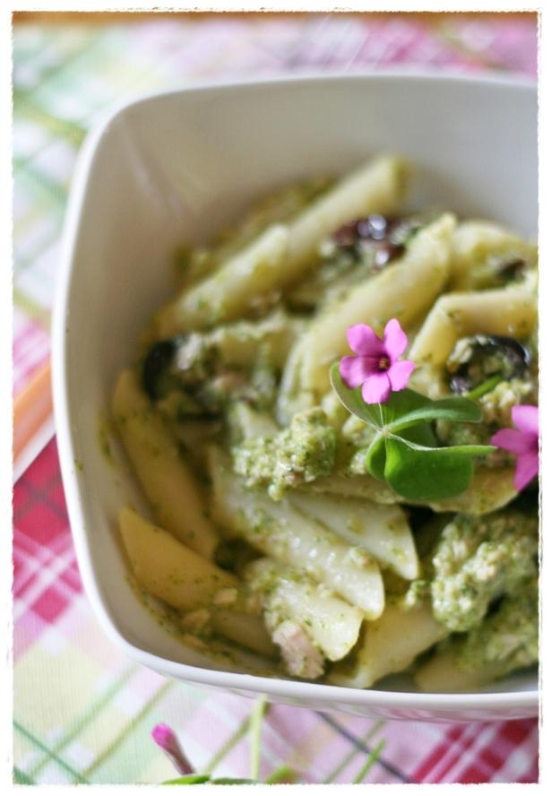 Penne con crema di zucchine all'acetosella, tonno e olive