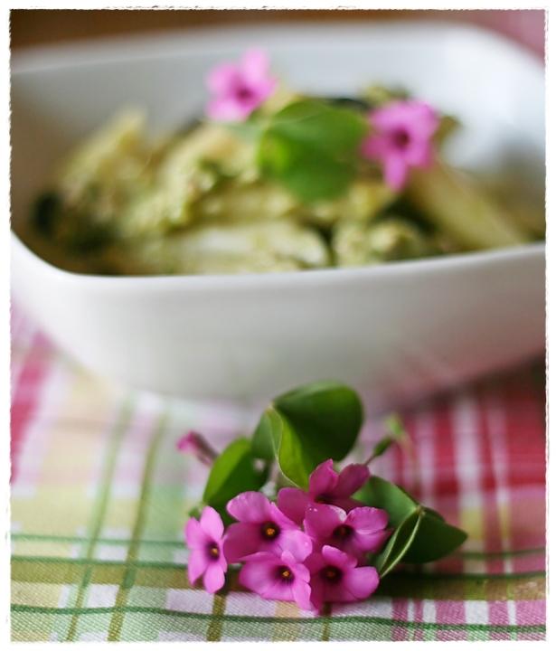 Penne con crema di zucchine all'acetosella, tonno e olive5
