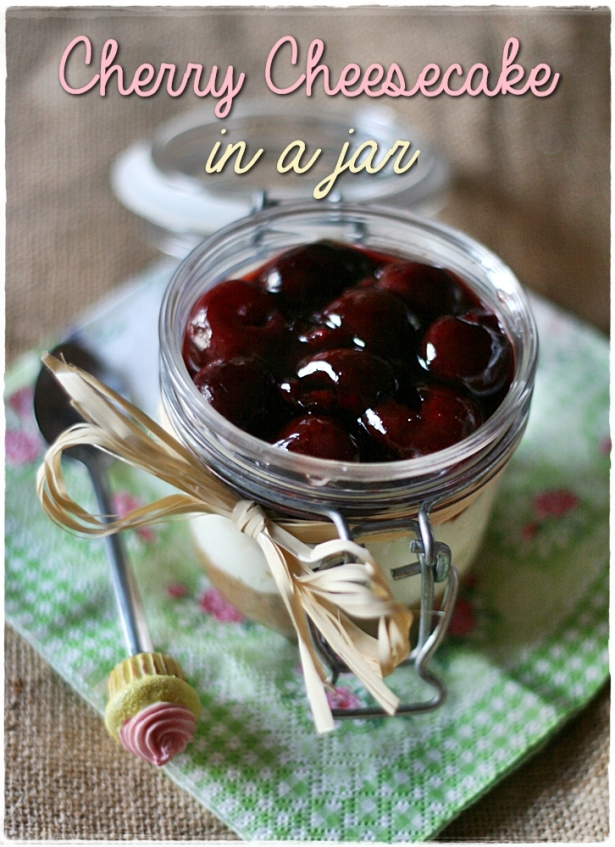 Cherry cheesecake in a jar 4
