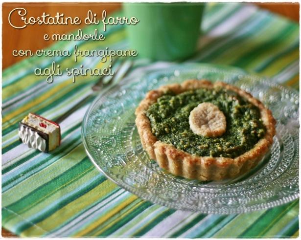 Crostatine di farro e mandorle con crema frangipane agli spinaci2